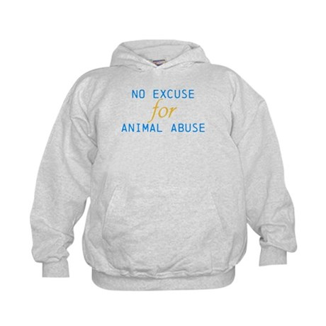 'No Excuse For Animal Abuse Kids Hoodie