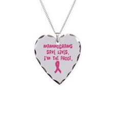 Mammograms Save Lives Necklace Heart Charm