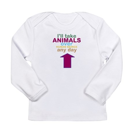 'Animals Over Humans' Long Sleeve Infant T-Shirt