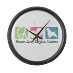 Peace, Love, English Cockers Large Wall Clock
