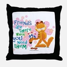 """""""Friends Are There"""" Garfield Throw Pillow"""