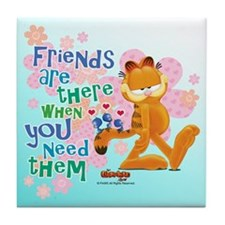 """""""Friends Are There"""" Garfield Tile Coaster"""