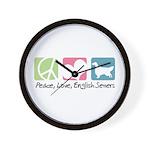 Peace, Love, English Setters Wall Clock