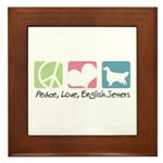 Peace, Love, English Setters Framed Tile