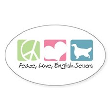 Peace, Love, English Setters Decal