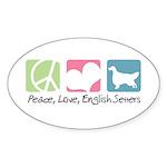 Peace, Love, English Setters Sticker (Oval 10 pk)