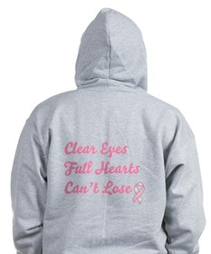 Breast Cancer Clear Eyes (back only) Zip Hoodie
