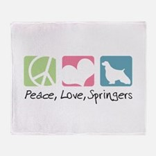 Peace, Love, Springers Throw Blanket