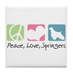 Peace, Love, Springers Tile Coaster
