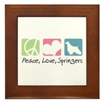Peace, Love, Springers Framed Tile