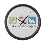 Peace, Love, Springers Large Wall Clock