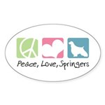 Peace, Love, Springers Sticker (Oval 50 pk)