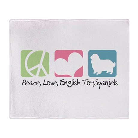 Peace, Love, English Toy Spaniels Throw Blanket