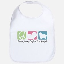 Peace, Love, English Toy Spaniels Bib