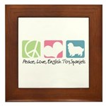 Peace, Love, English Toy Spaniels Framed Tile