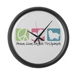 Peace, Love, English Toy Spaniels Large Wall Clock