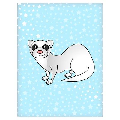 Silver Ferret Blue Star Poster