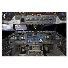 "Space Shuttle Cockpit 35"" x 23"" Canvas Art"