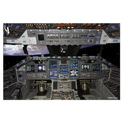 "Space Shuttle Cockpit 35"" x 23"" Poster"