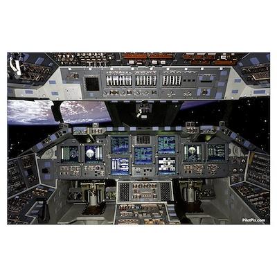 "Space Shuttle Cockpit 35"" x 23"" Poster"