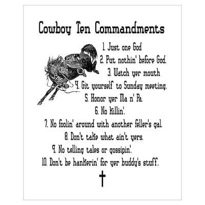 Cowboy Ten Commandments Poster