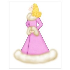 Blonde Lady in Pink Fur-Trimmed Robe Poster