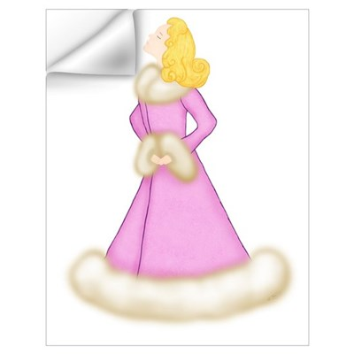 Blonde Lady in Pink Fur-Trimmed Robe Wall Decal