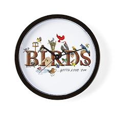 """Birds of All Kinds"" Custom Wall Clock"