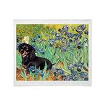 Irises & Dachshund (BT4) Throw Blanket