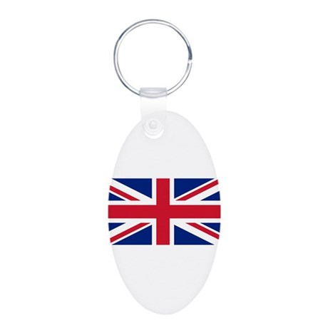 United Kingdom Aluminum Oval Keychain