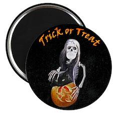 Lady Skeleton Trick or Treats Magnet