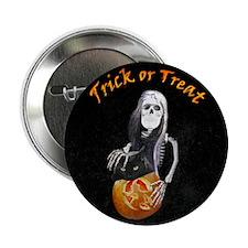 "Lady Skeleton Trick or Treats 2.25"" Button"
