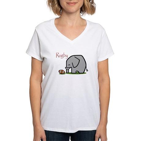 Rugby Elephant (2) Women's V-Neck T-Shirt