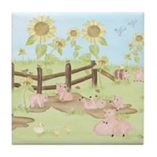 Sunflower - Pig Tile Coaster