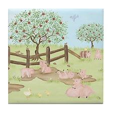 Apple Tree - Pig Tile Coaster