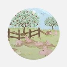 Apple Tree - Pig Ornament (Round)