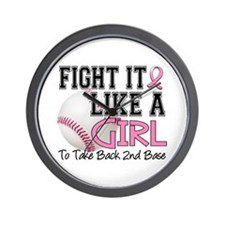 Second 2nd Base Breast Cancer Wall Clock