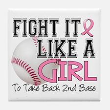 Second 2nd Base Breast Cancer Tile Coaster