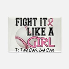 Second 2nd Base Breast Cancer Rectangle Magnet (10
