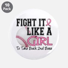 """Second 2nd Base Breast Cancer 3.5"""" Button (10 pack"""