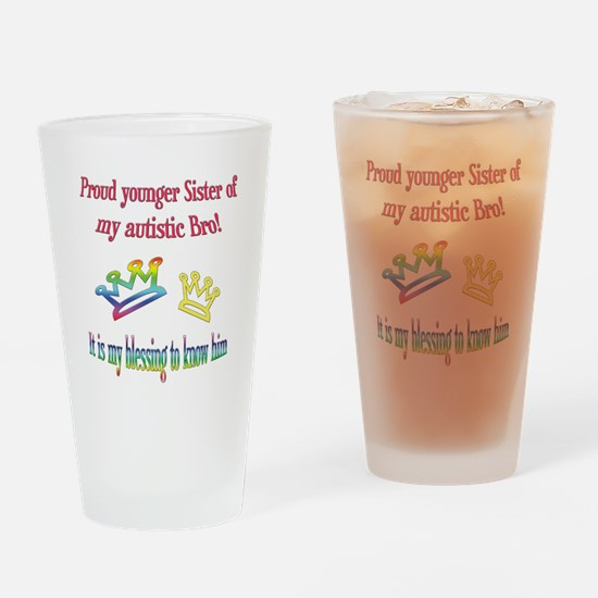 Sister autism awareness Drinking Glass