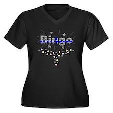 Bingo Glitz Women's Plus Size V-Neck Dark T-Shirt