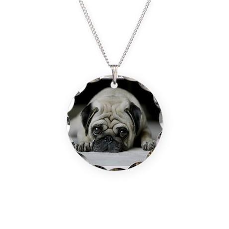 Sad Pug Necklace Circle Charm