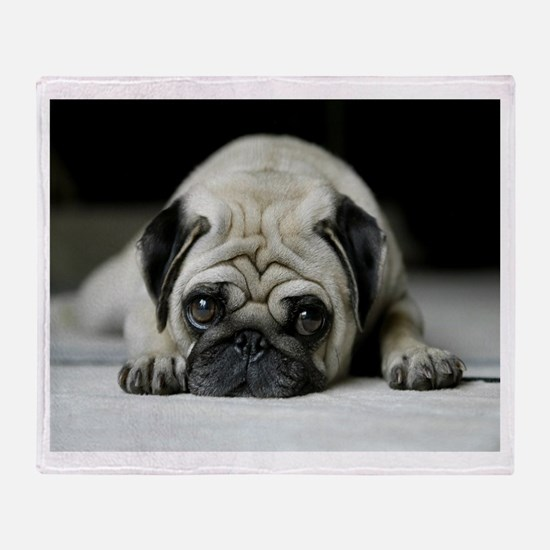 Sad Pug Throw Blanket