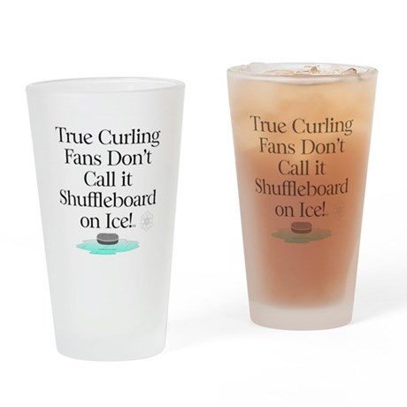 Curling Slogan Drinking Glass