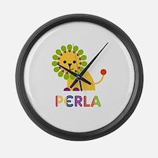Perla the Lion Large Wall Clock