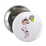 "Cute Tennis Girl 2.25"" Button (10 Pk)"