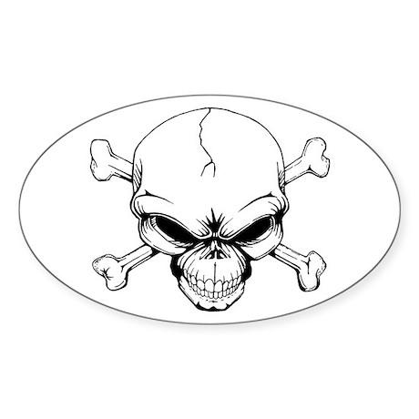 Skull and Crossbones Sticker (Oval)