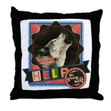Help the Endangered Gray Wolf Throw Pillow