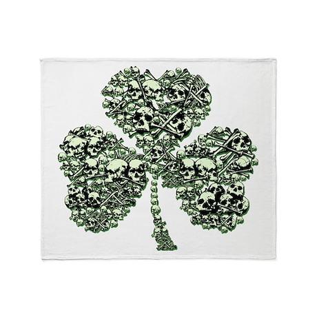 St Patricks Day Skulls Throw Blanket
